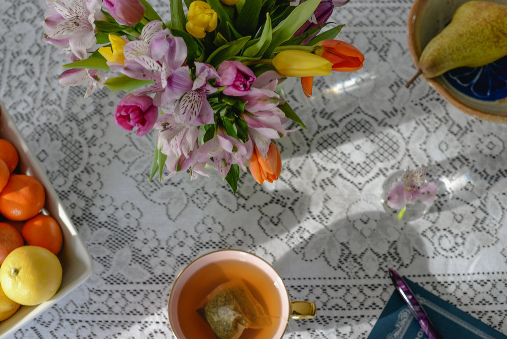 tea and spring flowers