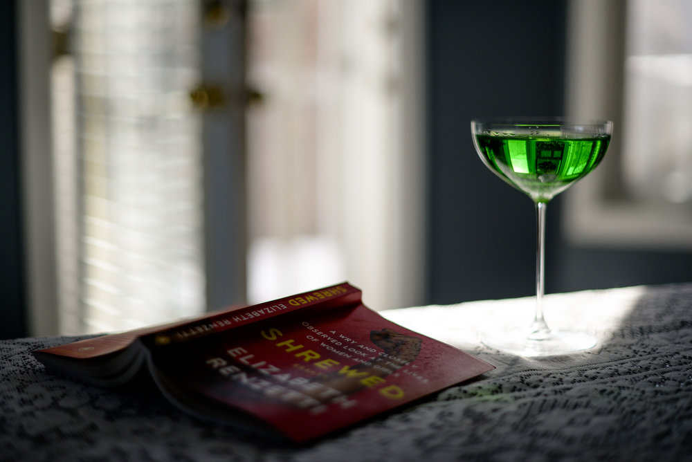 green drink and book