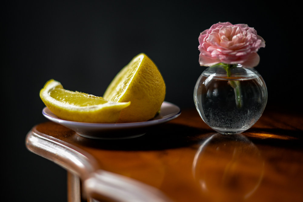 still life with lemon and rose