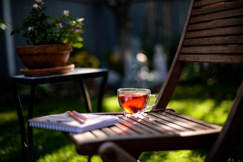 tea in the backyard