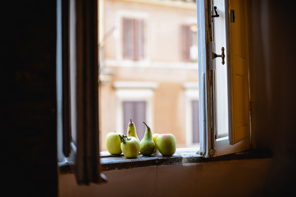fruit on a windowsill