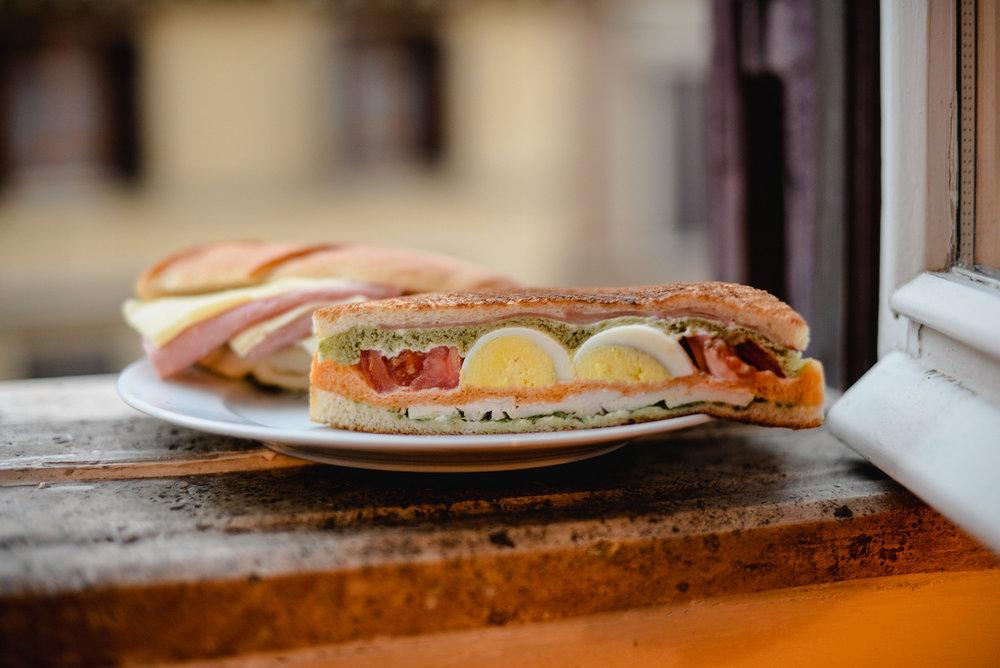 sandwich on a windowsill