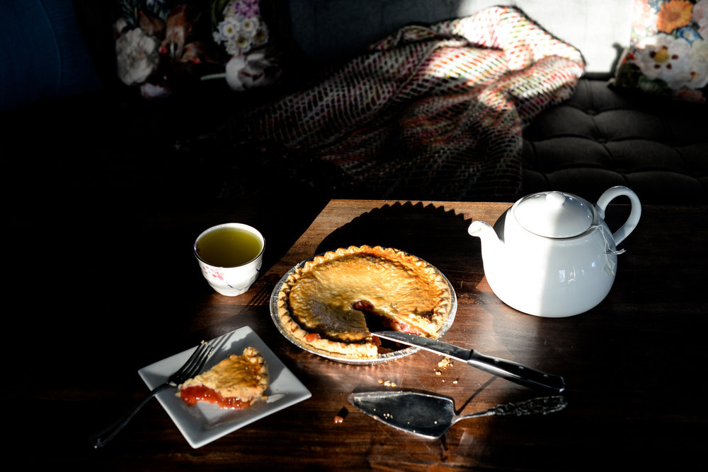 pie and light and tea