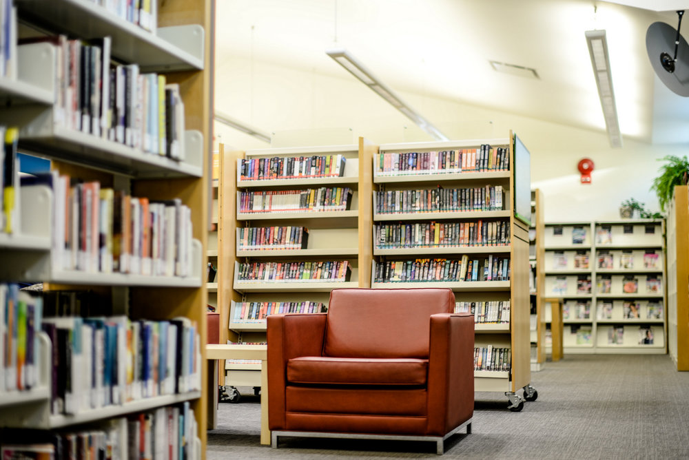 red chair Edmonton Public Library
