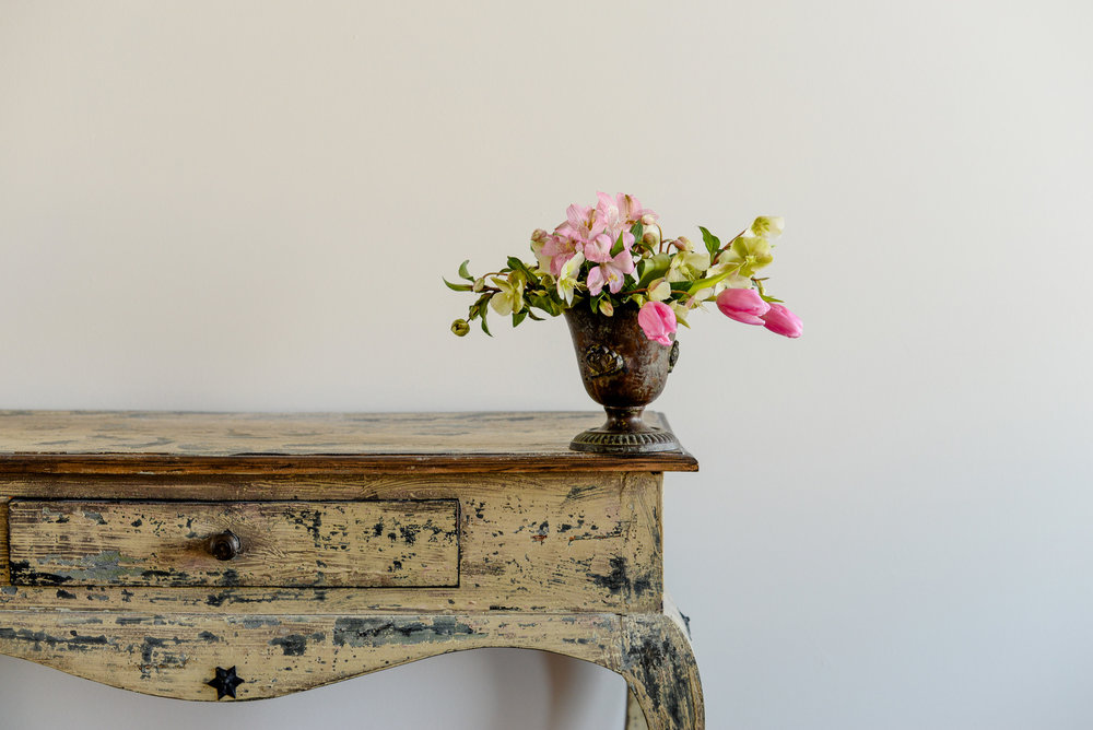 flowers on a distressed table