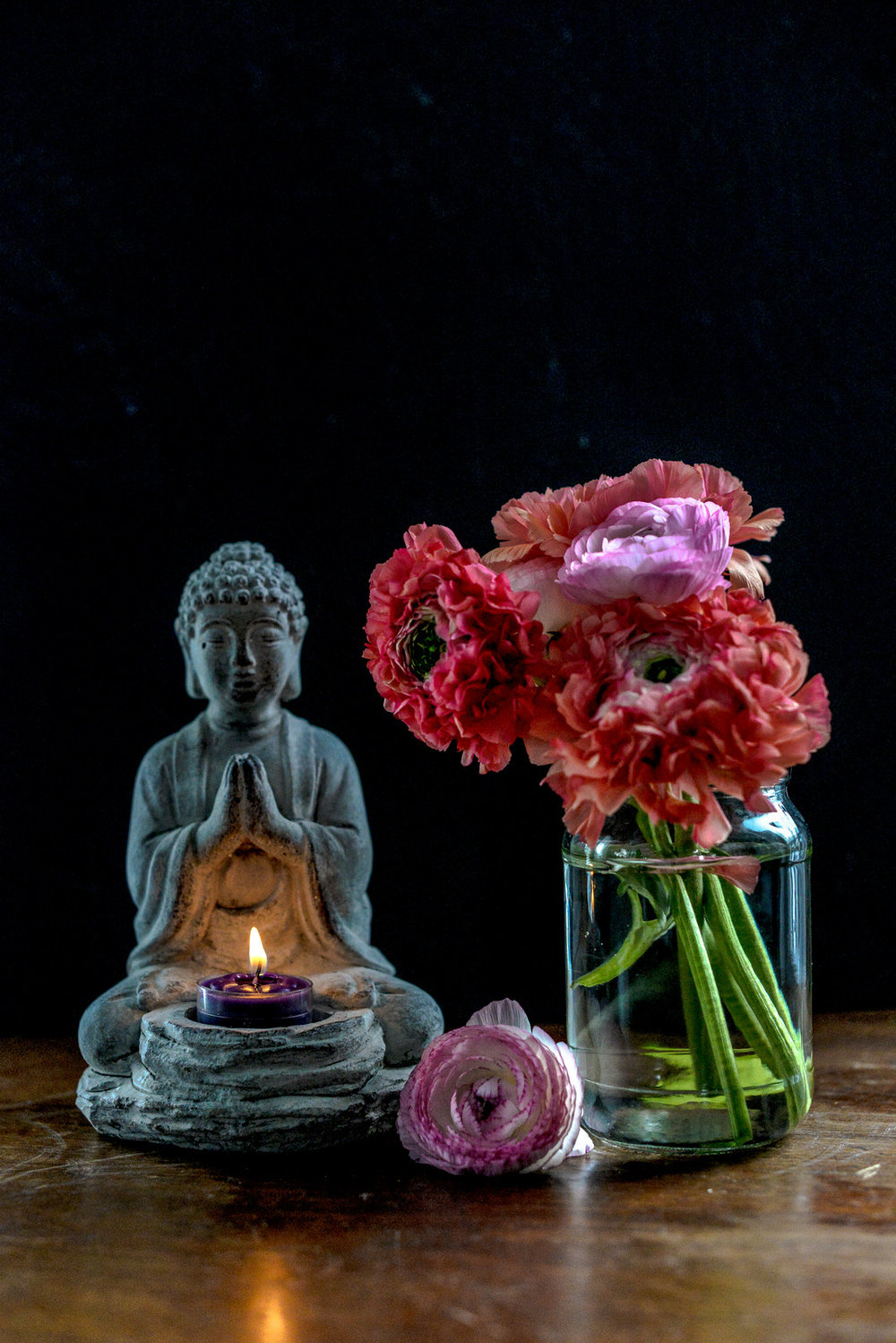 flowers and buddha votive