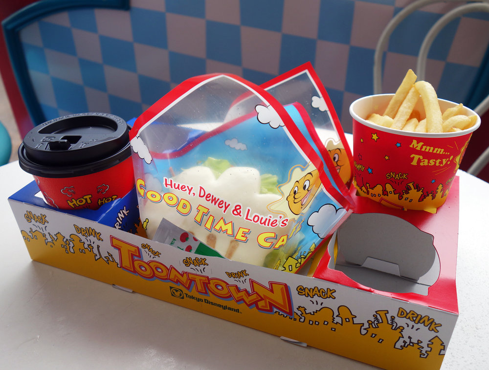 Mickey Roasted Chicken on Chinese Bun - with Hot Chocolate and Fries. ¥960  Huey, Dewey & Louie's Good Time Cafe - Toontown
