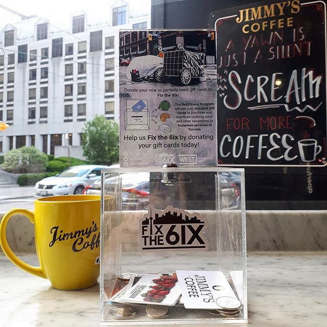 We have the wonderful @fixthe6ix donation boxes back in our stores. This great organization collects and repurposes 'useless' gift cards with a small amount of funds left on them, Fix the 6ix offers a unique, however temporary, relief to food insecurity and poverty in Toronto. An idea as unique as the city itself, Fix the 6ix and The ReGiftcard Program embody both the culture and concept of 'Toronto the Good'. Any and all donations are welcome!💛