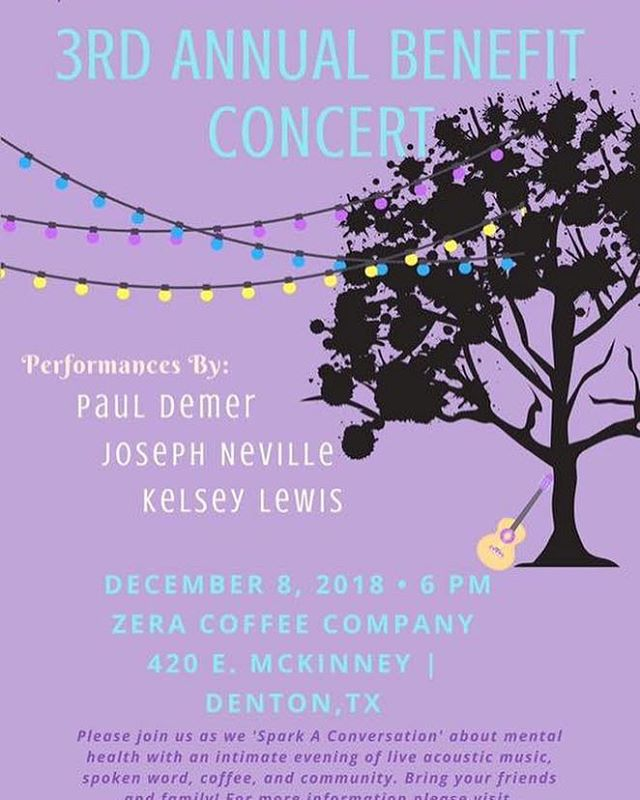 TONIGHT!!! So honored to get to perform alongside such amazing songwriters and spoken word artists this evening for the 3rd Annual Sparkle Mental Health Connection Benefit at @zeracoffee in Denton!!! Everything is getting started at 6PM!!! Come get out of the rain and cozy on up to a warm cup of joe, music, poetry, and honest conversations about hope, light, and courage centered around #mentalhealth!You don't want to miss it!!😘❤️