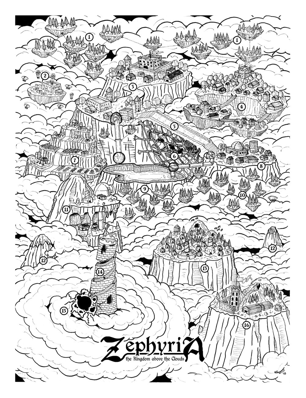 ...Like Zephyria: The Kingdom Above the Clouds - Where cities are strung between mountain-tops and airships ply the sky-sea. But what are they running from, on the decimated earth they left behind?