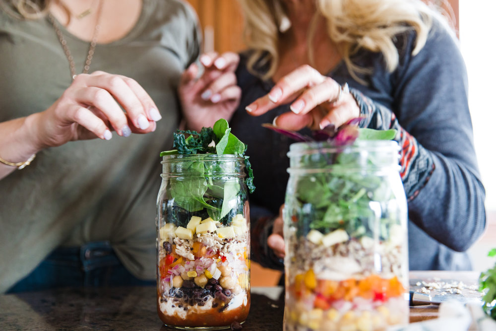 Finished South of the Border Mason Jar Salad Layers