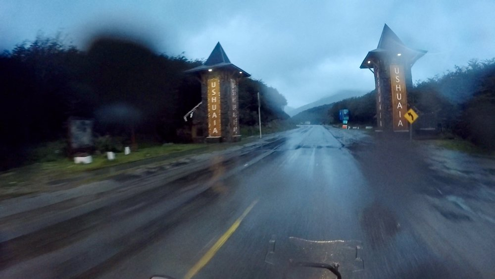 It was raining and cold as I rode out of Ushuaia.