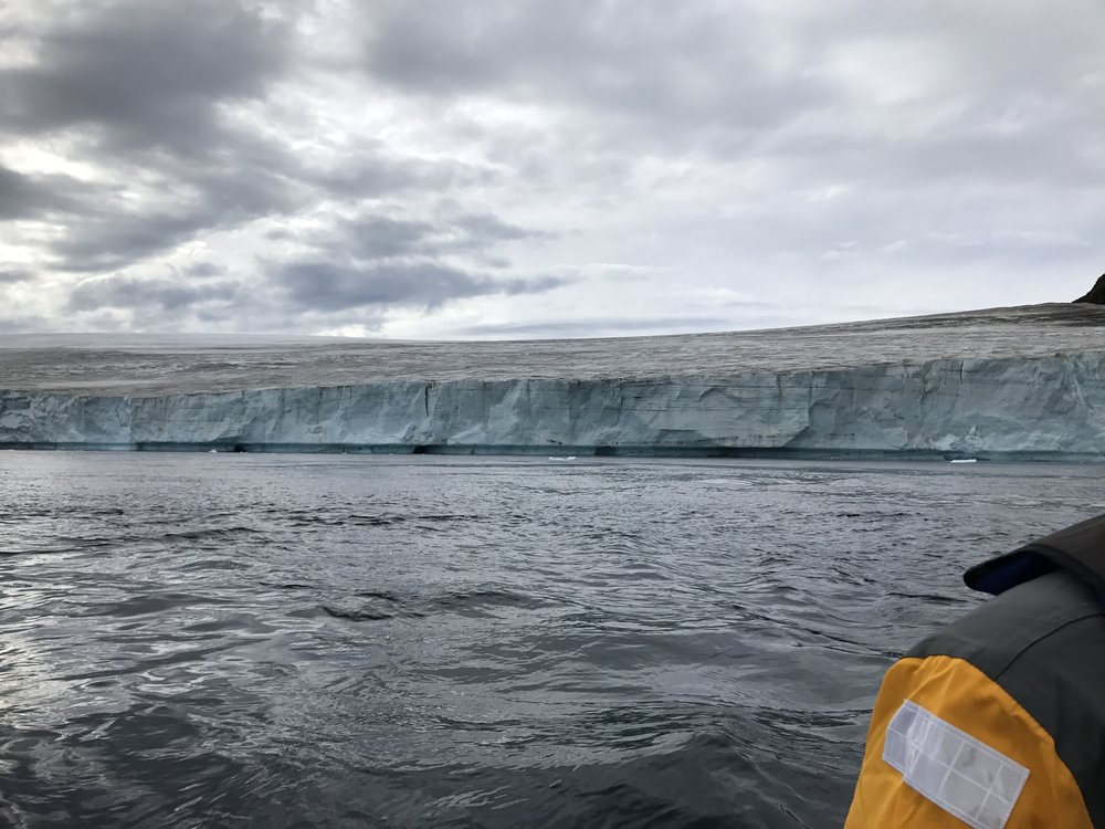This is the front wall of the glacier as it entered the ocean. Most of the coastline looks a lot like this, in that there is no exposed beach or rocky outcrop.