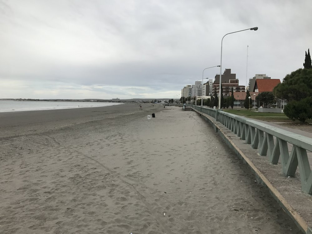 Beach in Puerto Madryn. A few people were in the water, but it was too cold for me.