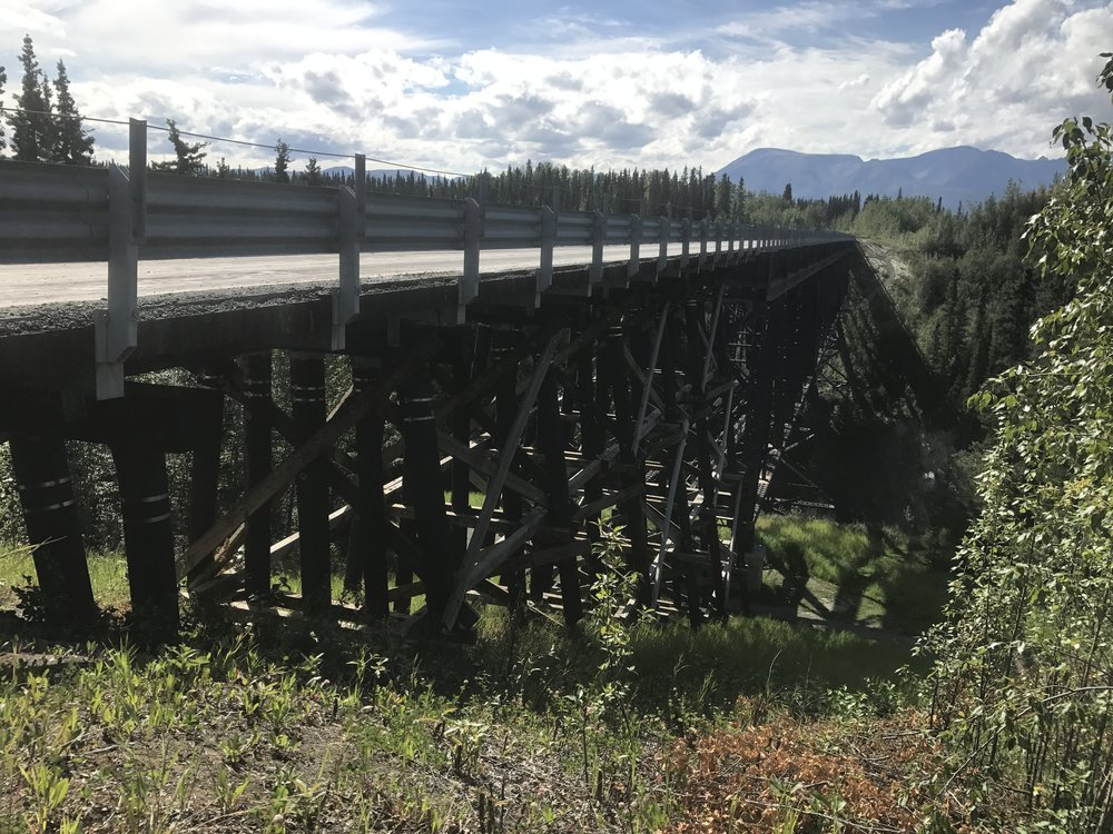 On the road to McCarthy we crossed this bridge which was once used for the train that went to Kennecott.