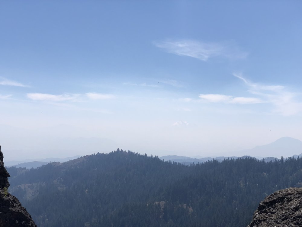 If you look closely, you can see Shasta through the smoke