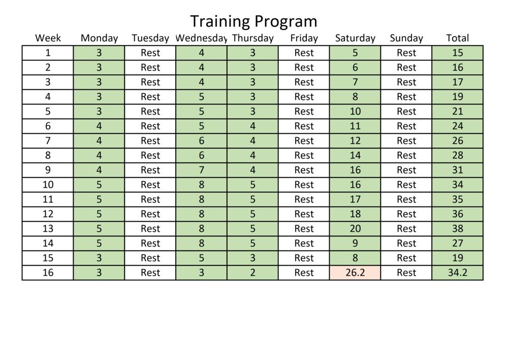 My 16 week training schedule.