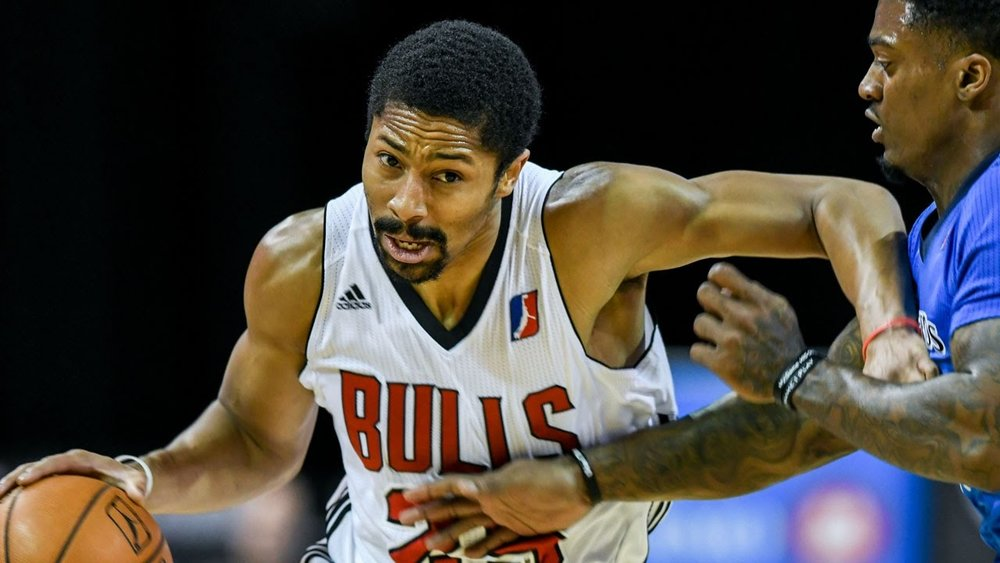 G Spencer Dinwiddie pushes past a Texas Legends defender on his way to the hoop. Dinwiddie was signed as a rotation PG to the Brooklyn Nets after impressing teams during his time with the Windy City Bulls.