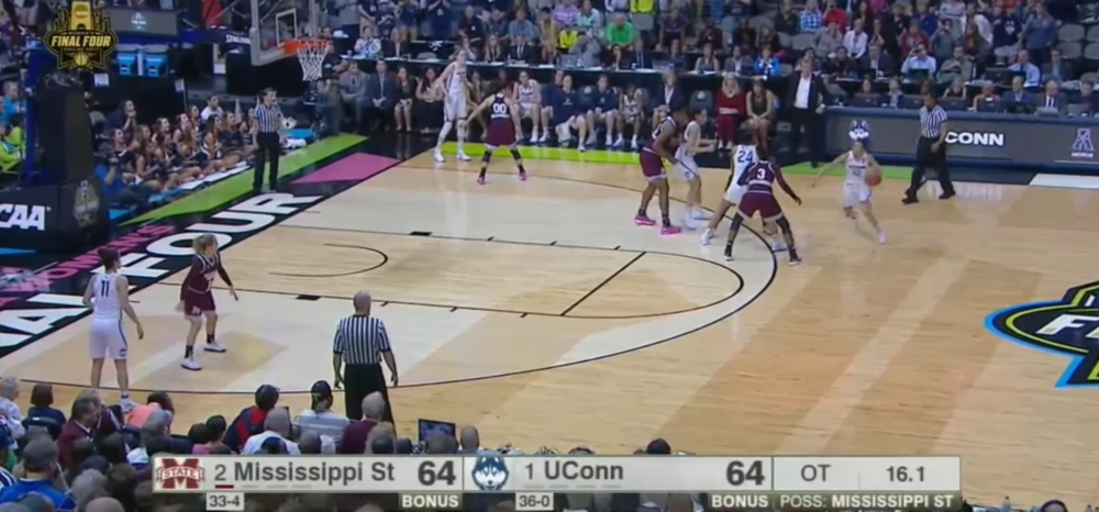 Chong starts her move here. As Napheesa Collier (UConn 24) forces Morgan William (MSU 2) off of Chong with the screen, the ball-handler needs only to round the corner to find a wide open key.