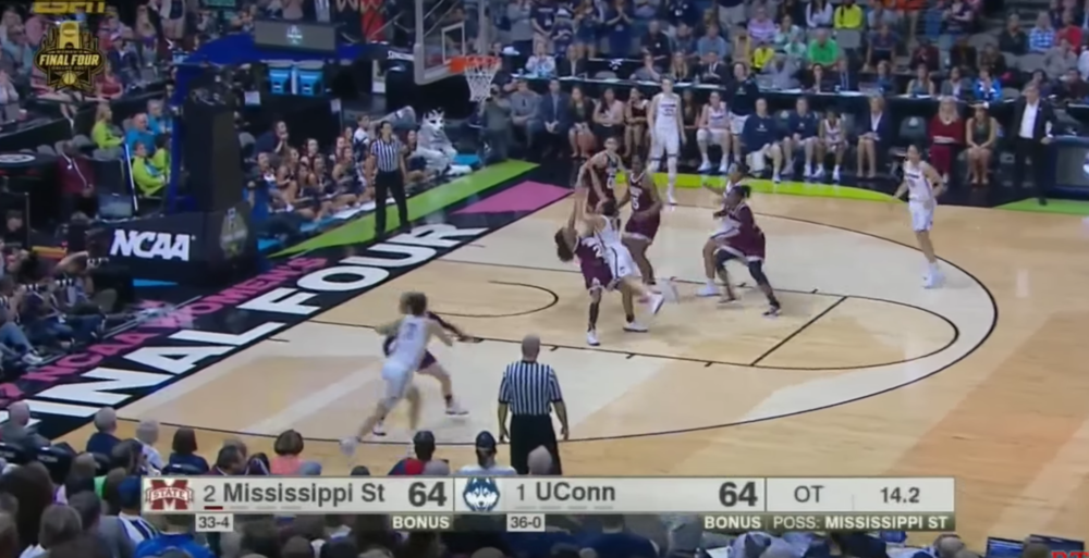 ...This. Terrible shot, but Chong simply has no time to react. The worst part is that, with the dive by Collier and the penetration by Chong, three defenders pack the paint, leaving Gabby Williams (UConn 15) wide open for a jumper. A little slower around the edge, and Chong could have made the pass.
