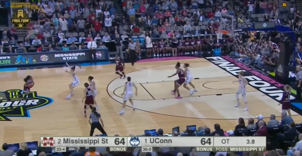 The reaction by UConn on the pass to William is what makes this whole dream sequence possible. With three Huskies guarding William and Dillingham on the arc, they leave Breanna Richardson by herself.