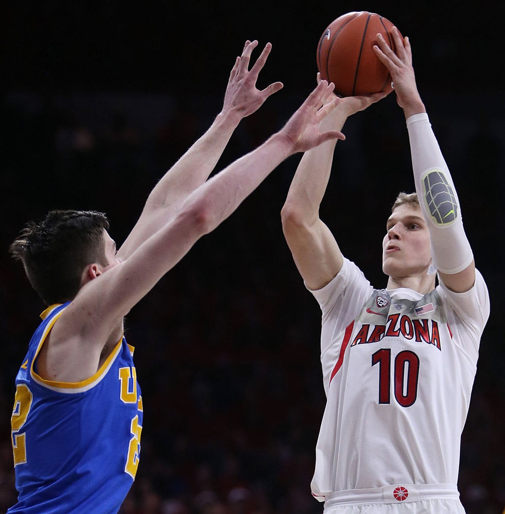 TJ Leaf contests a Lauri Markkanen jumper. While Markkanen is a marvelous shooting big and likely goes well before TJ, Leaf could perhaps surpass him due to his ability to shoot and rim-run.