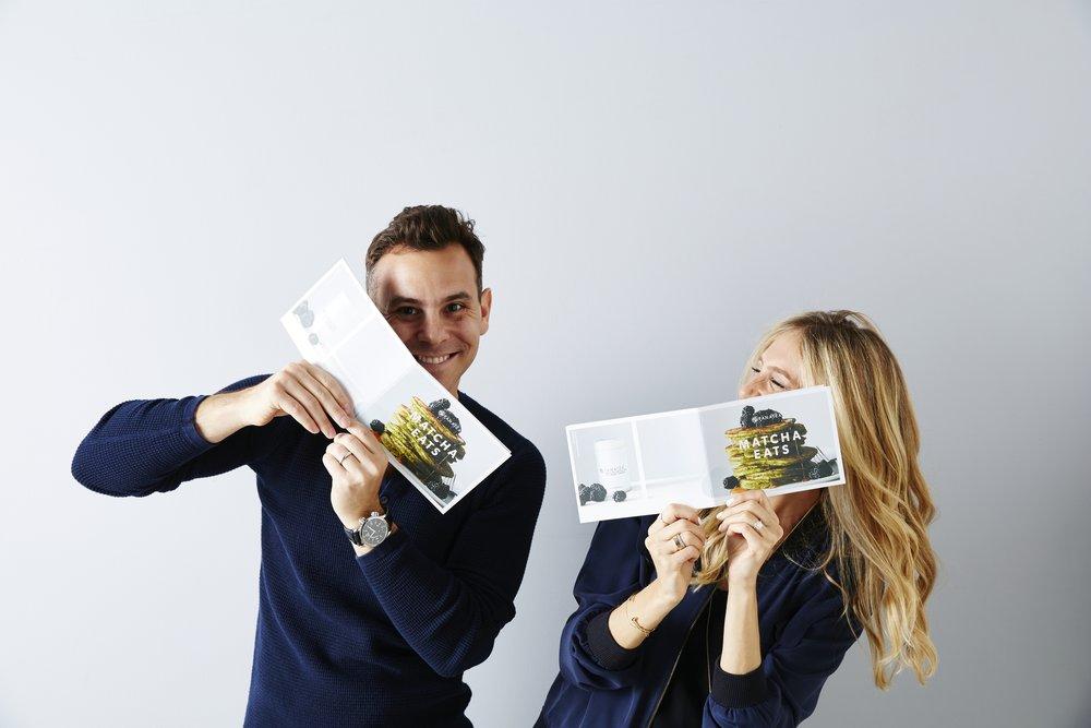 Jess &David Mandelbaum with their Matcha Eats cookbook