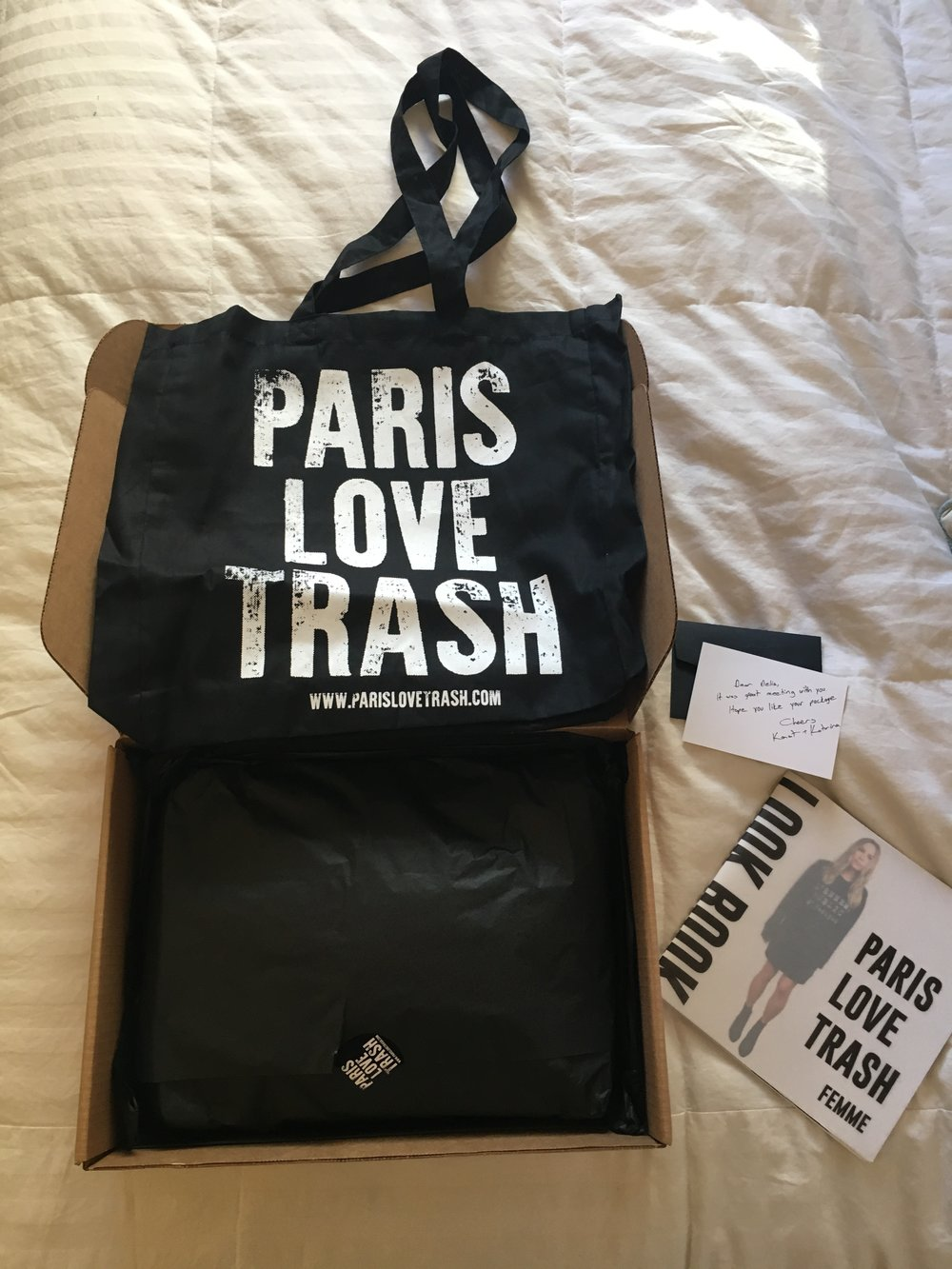 Each delivery comes with a PARIS LOVE TRASH tote bag, which is multifunctional. Mine also came with a handwritten note, and the PARIS LOVE TRASH lookbook