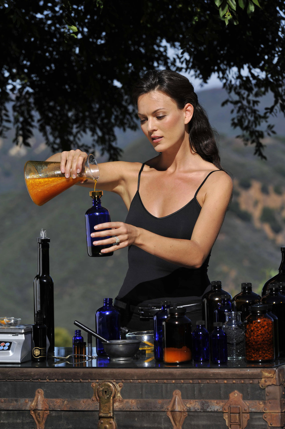 May Lindstrom mixing the products