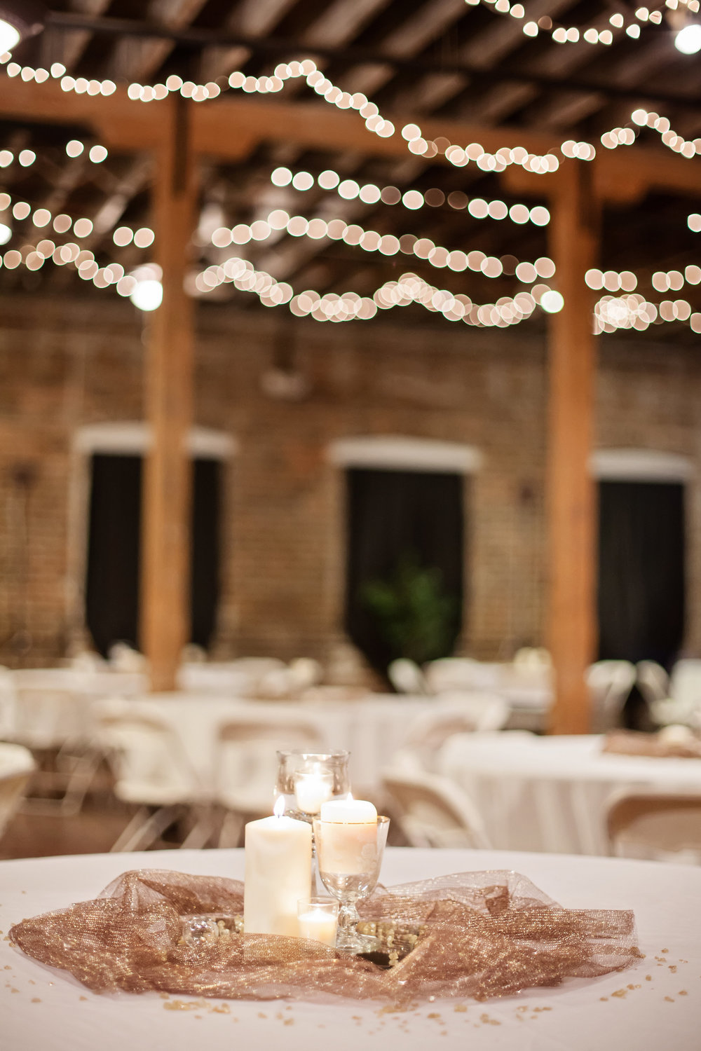 Centerpiece Decor at Industrial Glam Wedding at The Old Woolen Mill