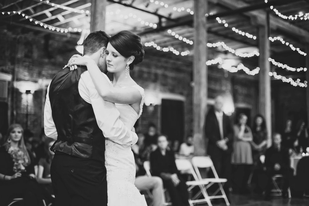 First Dance at Industrial Glam Wedding at The Old Woolen Mill