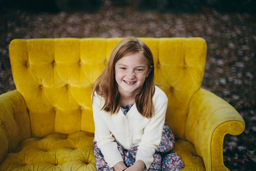 Family Shoot with Yellow Vintage Couch