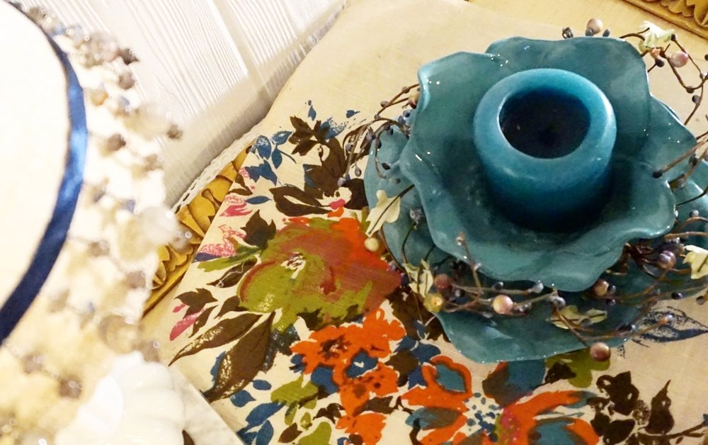 Teal Candle Dish with Plate