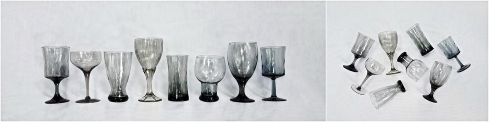 Collection of  Black Glass Goblets
