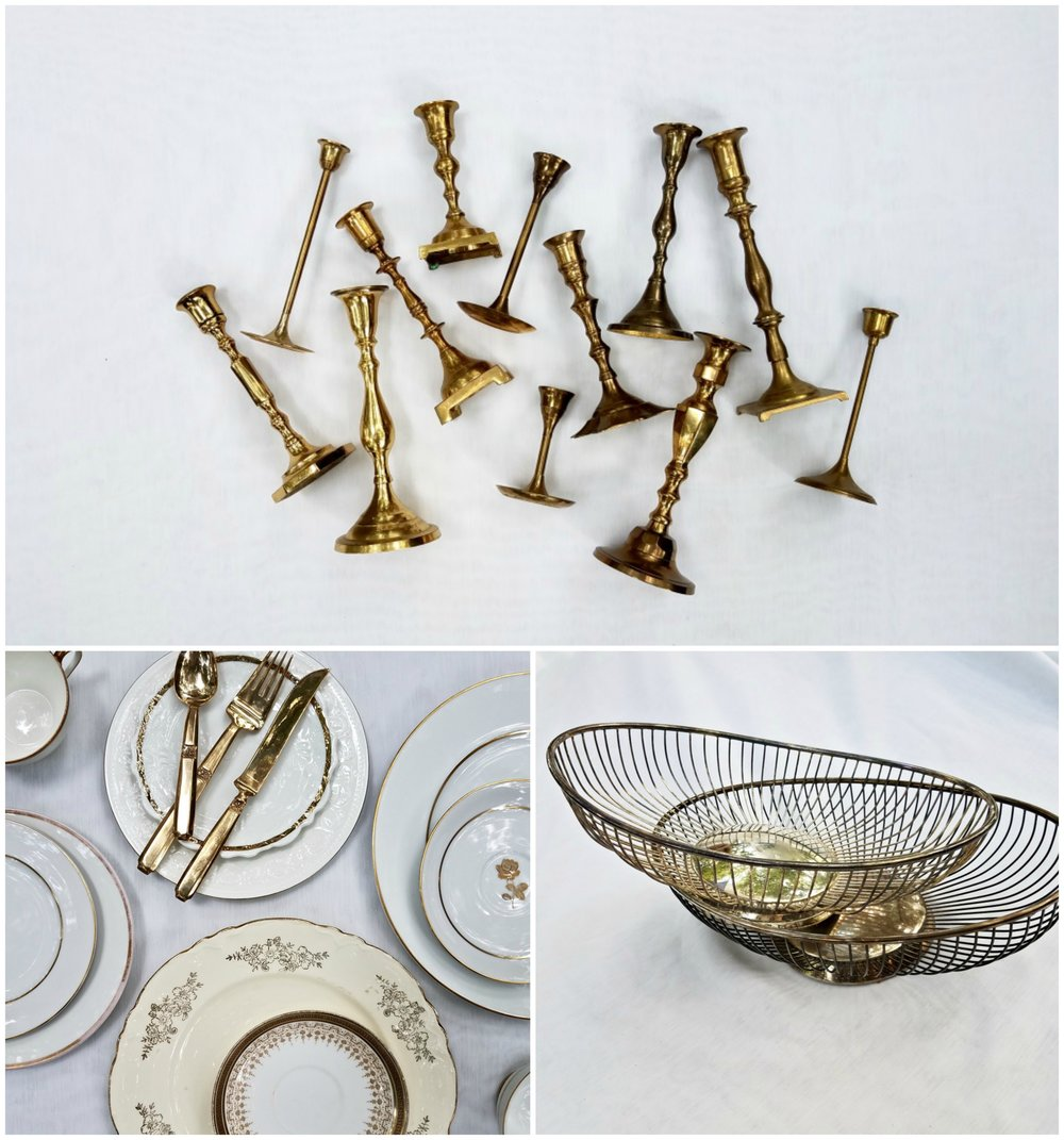 Brass Candlesticks ,  Cream & Gold China Collection ,  Wire Centerpieces