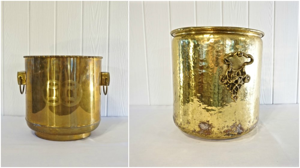 Etched Brass Container ,  Hammered Brass Container