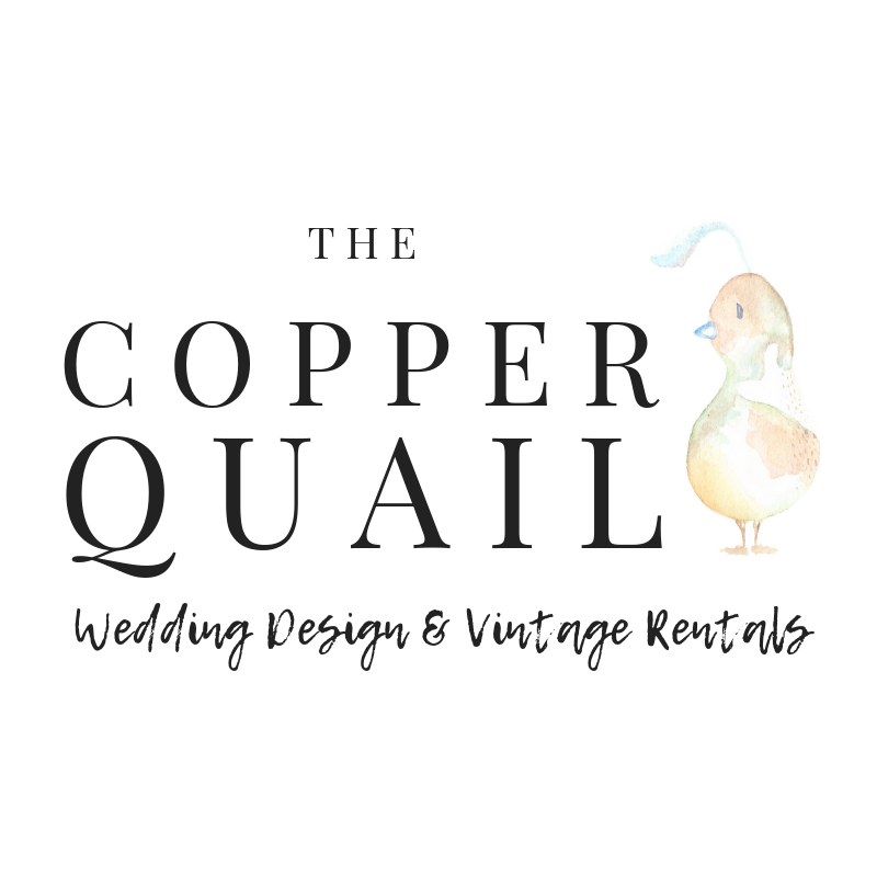 the copper quail wedding design vintage rentals serving