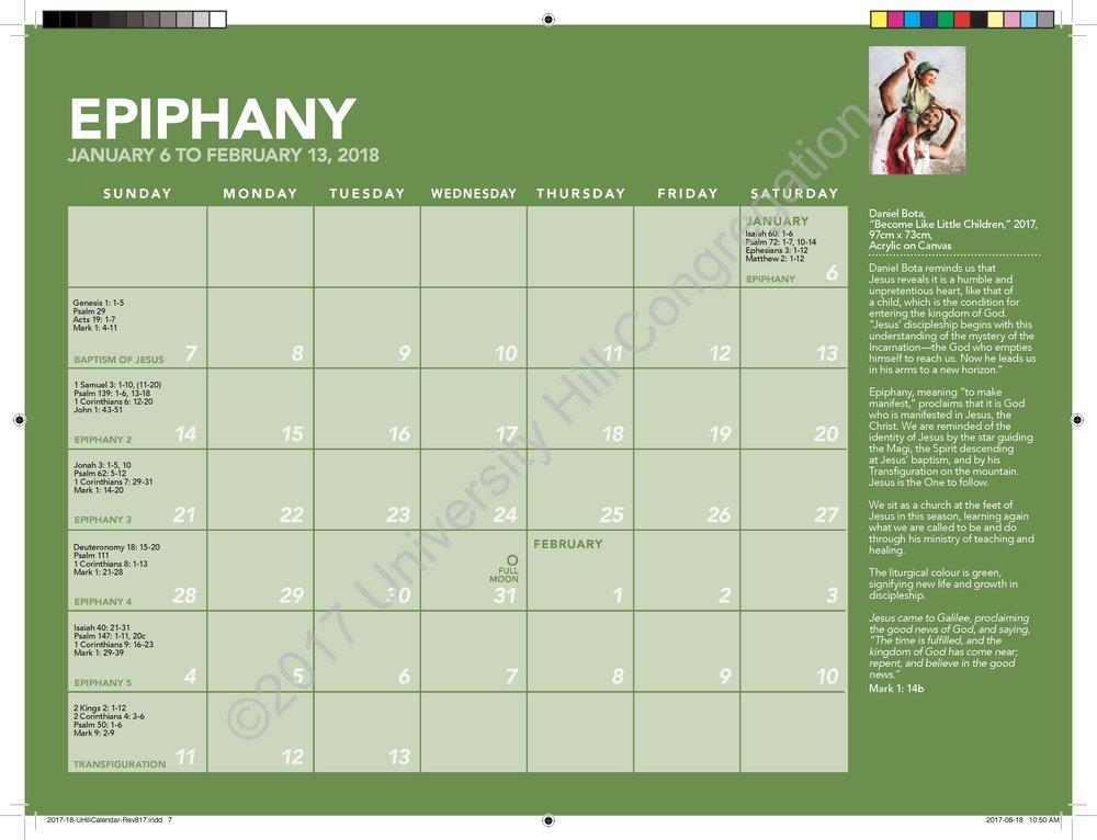 Epiphany Calendar Page