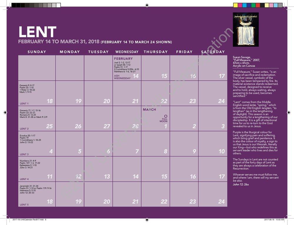 Lent Calendar Page