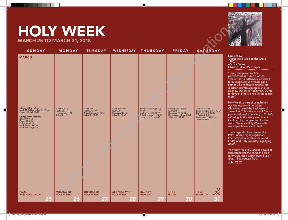 Holy Week Calendar Page