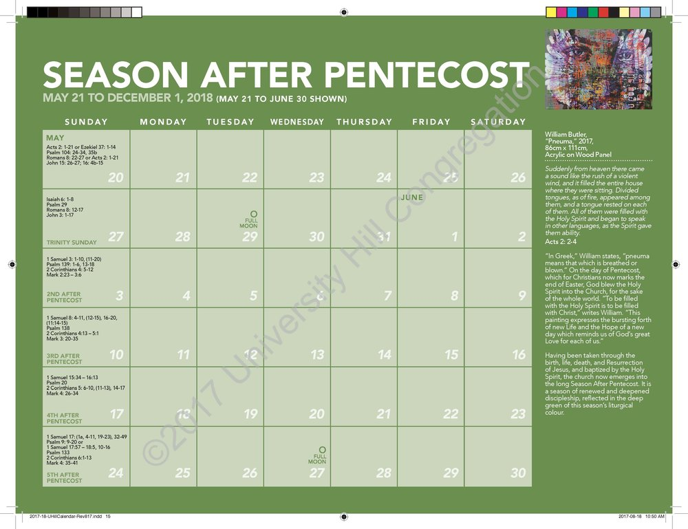First Season After Pentecost Calendar Page