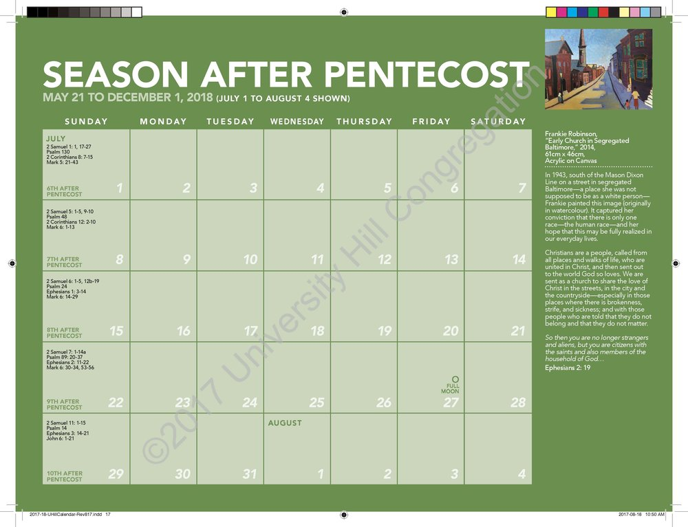 Second Season After Pentecost Calendar Page