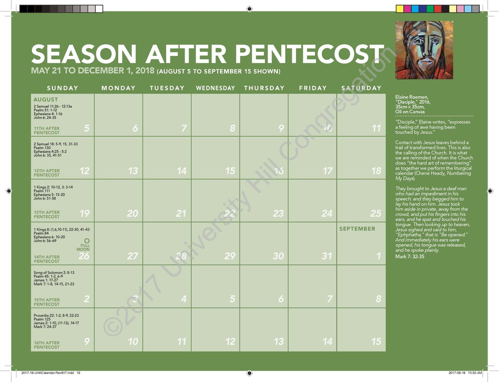 Third Season After Pentecost Calendar Page