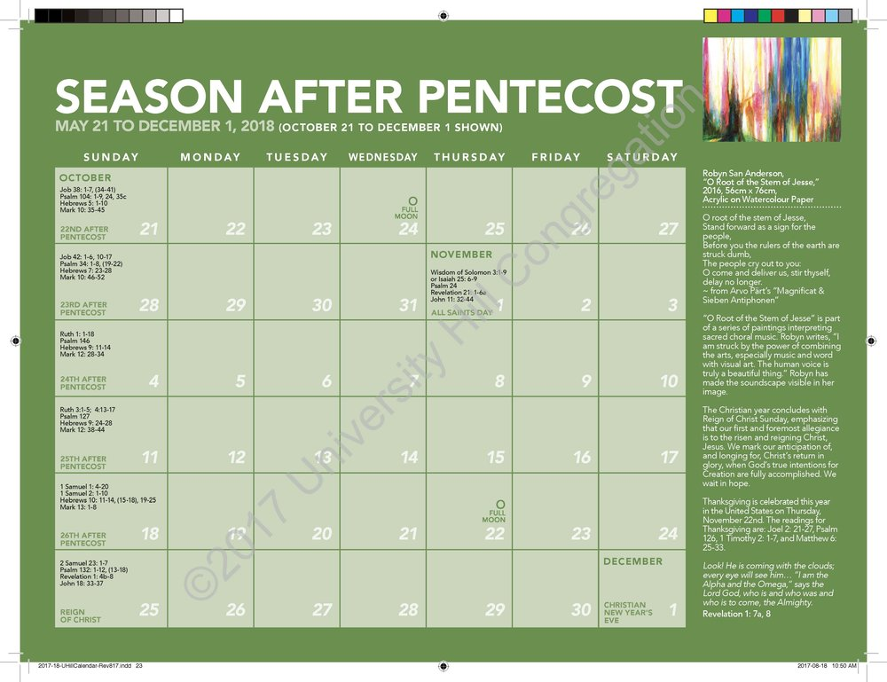 Fifth Season After Pentecost Calendar Page