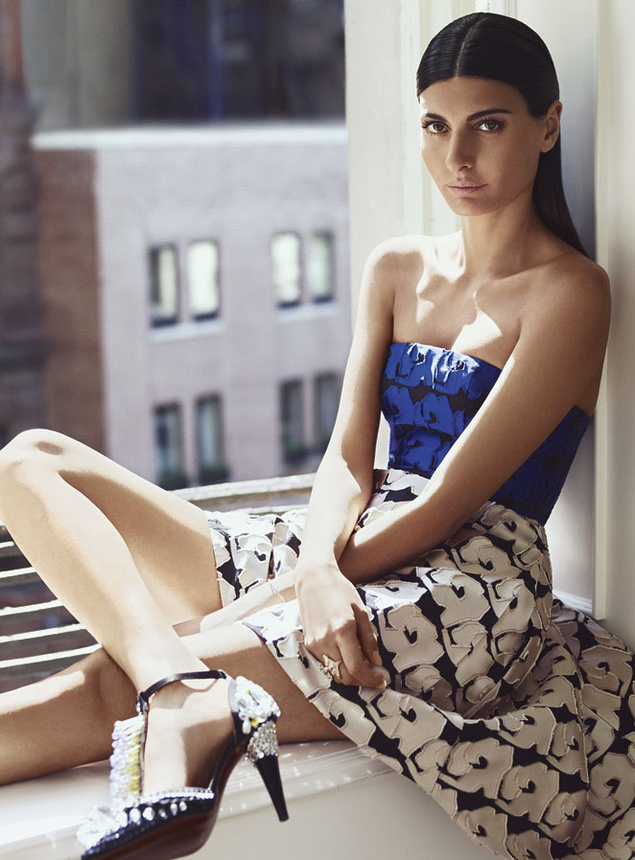 Jacquard bustier and skirt by Dior, rings and shoes, all of Giovanna Battaglia's.