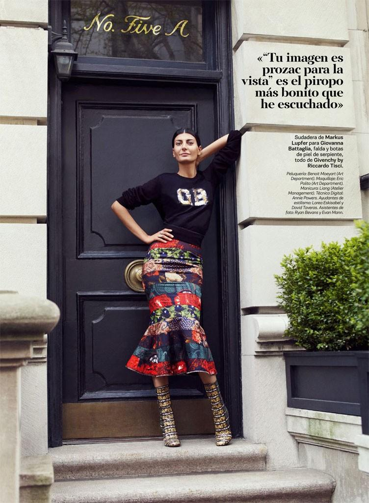 Markus Lupfer sweatshirt for Giovanna Battaglia, skirt and snakeskin boots, all in Givenchy by Riccardo Tisci