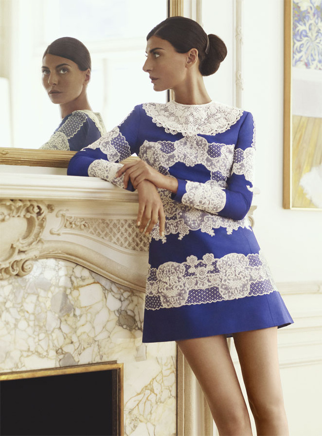 Mikado dress with embroidered Valentino.