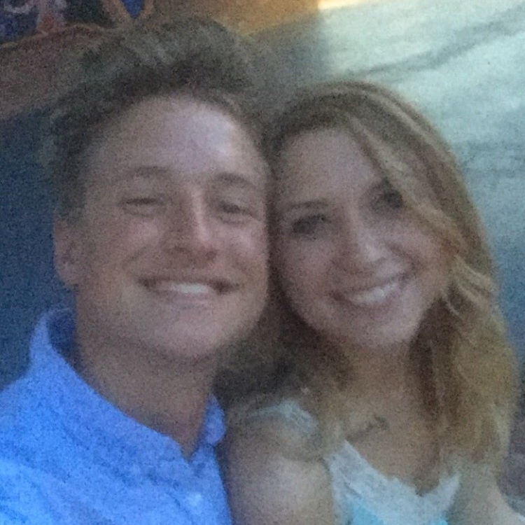 Grainy photo of Zach & Lexi's first date