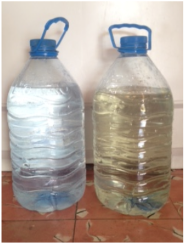 The dark, polluted and unfit water on the right is what was available to the Cuban people prior to the water purification systems. The water on the left is what is available now.
