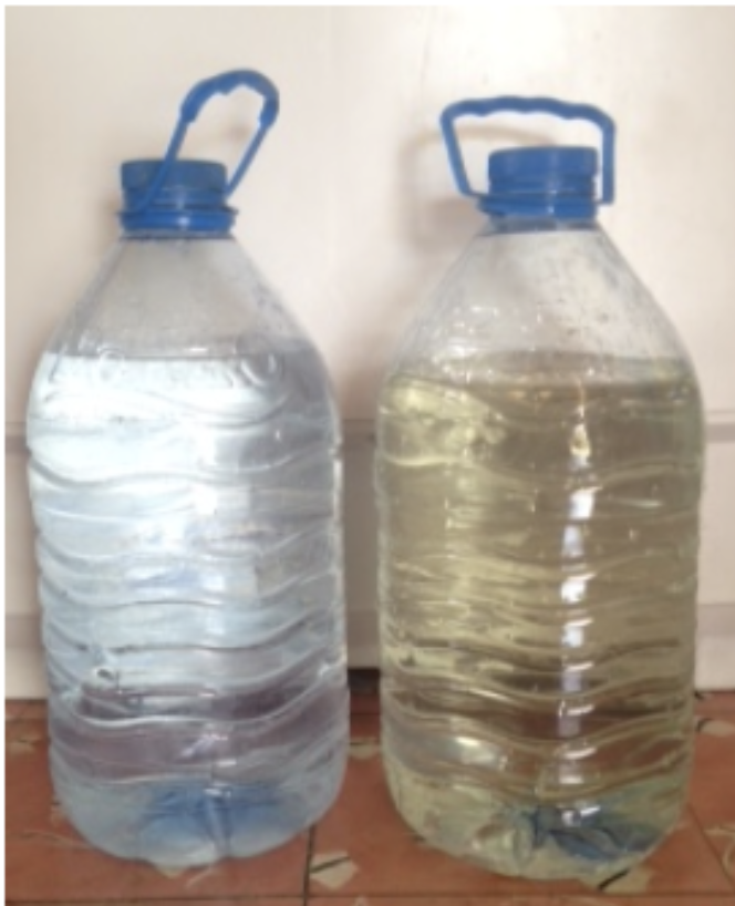 The water bottle on the right was the drinking water before the system was installed. The water bottle on the left is the difference the systems make.